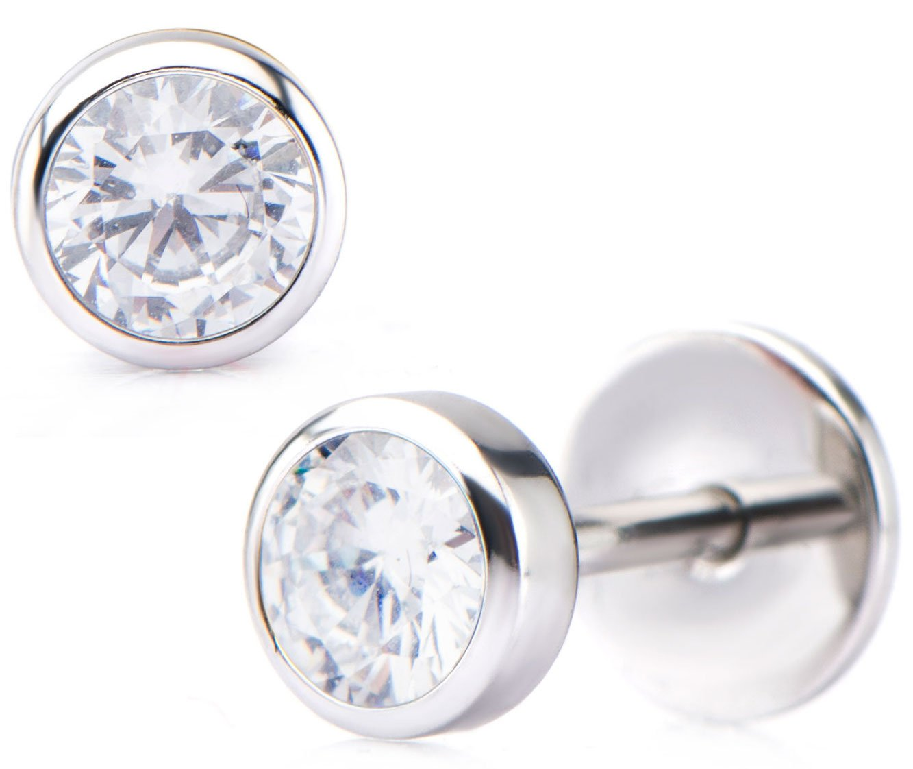ComfyEarrings CZ Crystal Bezel Stud Earrings by ComfyEarrings (Image #1)