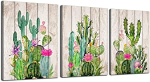 """Wall Art Decor for living room Green Cactus Wooden Board Plant Painting Canvas Art 16"""" x 24"""" 3 Pieces Framed Canvas Prints Watercolor Ready to Hang for Home Decoration bedroom kitchen bathroom Artwork"""
