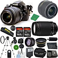 Nikon D3200 - International Version (No Warranty), 18-55mm f/3.5-5.6 DX VR, Nikon 70-300mm f/4-5.6G, 2pcs 16GB Memory, Camera Case, Wide Angle, Telephoto, Flash