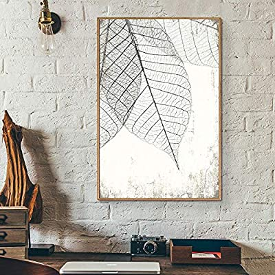 Framed Canvas Wall Art for Living Room, Bedroom Translucent Leaves III Canvas Prints for Home Decoration Ready to Hang - 24x36 inches