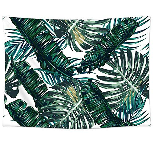 QEES Large Green Leaves Tropical Palm Tree Leaves Decor Tapestry Tropical Banana Leaf Light-Weight Bedroom Living Room Dorm Hanging Wall Decor(GT06-dark Green) - Leaves Wall Tapestry