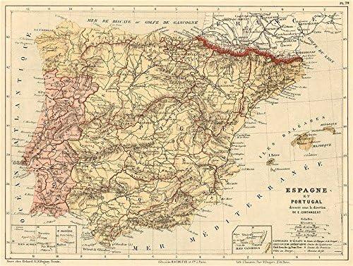 España y Portugal. Iberia. Las Provincias. Cortambert – 1880 – Old Antiguo Mapa Vintage – Juego de funda nórdica Mapas de Iberia: Amazon.es: Hogar