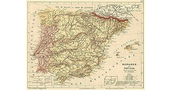 España y Portugal. Iberia. Las Provincias. Cortambert – 1880 – Old ...