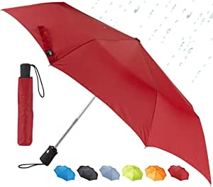Lewis N. Clark Travel Umbrella: Windproof with Mildew Resistant Fabric, Automatic Open Close & 1 Year Warranty, Red