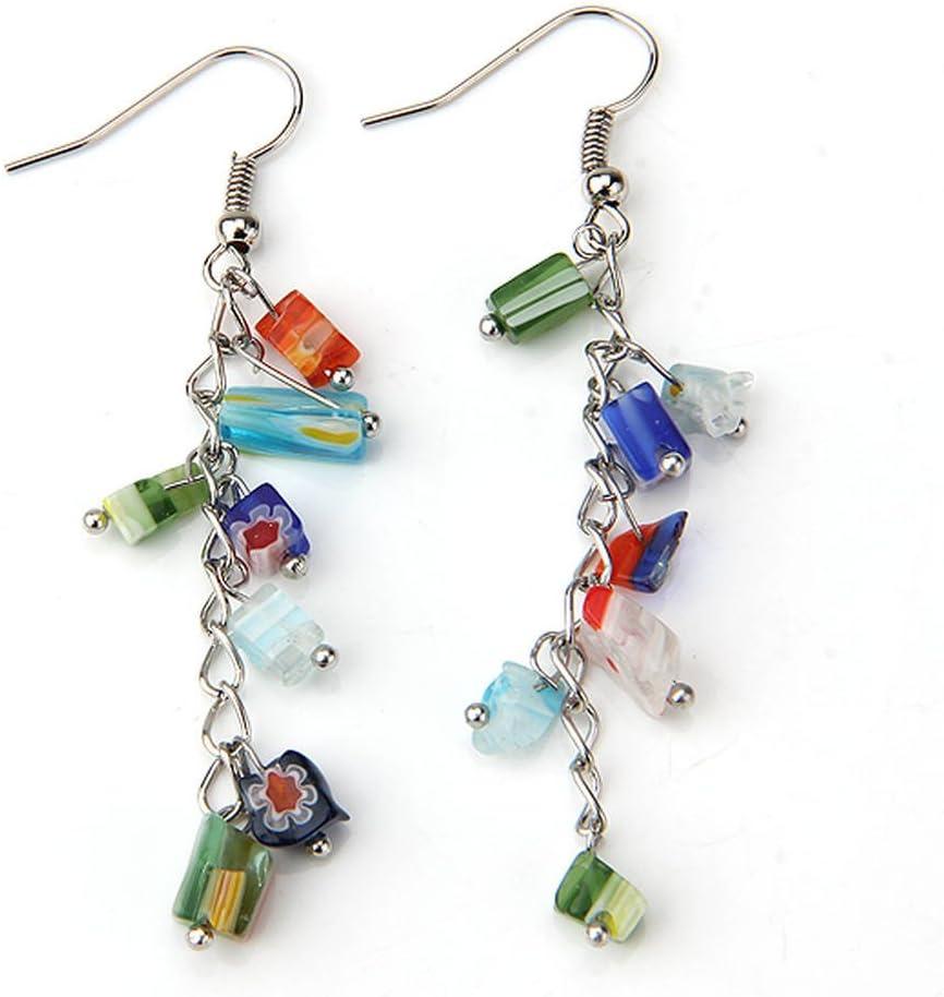 skyllc® Granos de Cristal de Murano Largo Gancho Pendientes para Chicas Mujeres