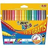 Bic Kids Visa Feutre de coloriage Couleurs assorties 15+3 Gratuits