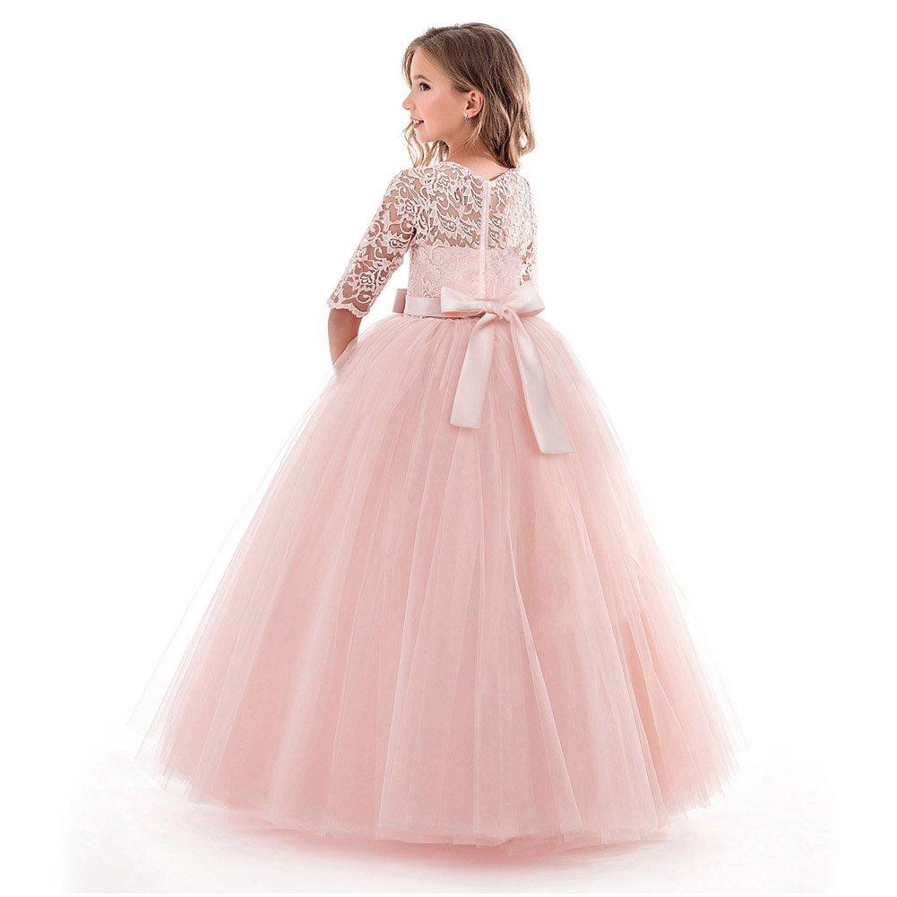 LZH Niñas Blanco Encaje 781-pink Espalda Vestido de Princesa de sin ...