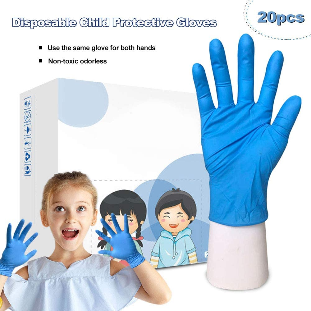 CviAn 20 piezas azul niños desechables médicos guantes de nitrilo cocina cocina limpieza hogar guantes claros guantes desechables examen guantes