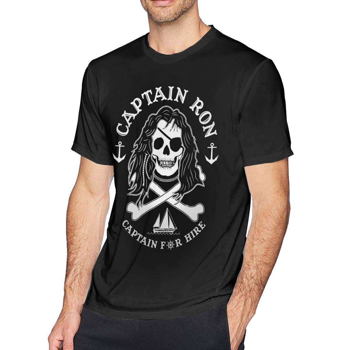 PEGGYNCO Mens Vintage Captain Ron Captain for Hire Tshirts Black