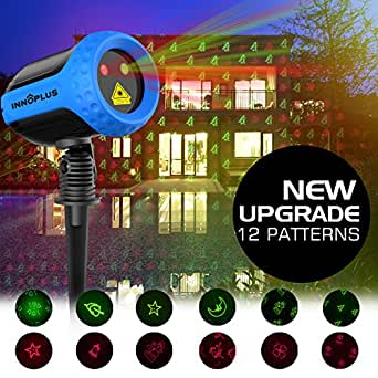 Christmas Outdoor Projection Lights, INNOPLUS Garden light Show Red Green Holiday Projection Light Waterproof 12 Enchanting Patterns Laser Light for, Party, Patio, Lawn, Yard, Garden Decoration (Blue)