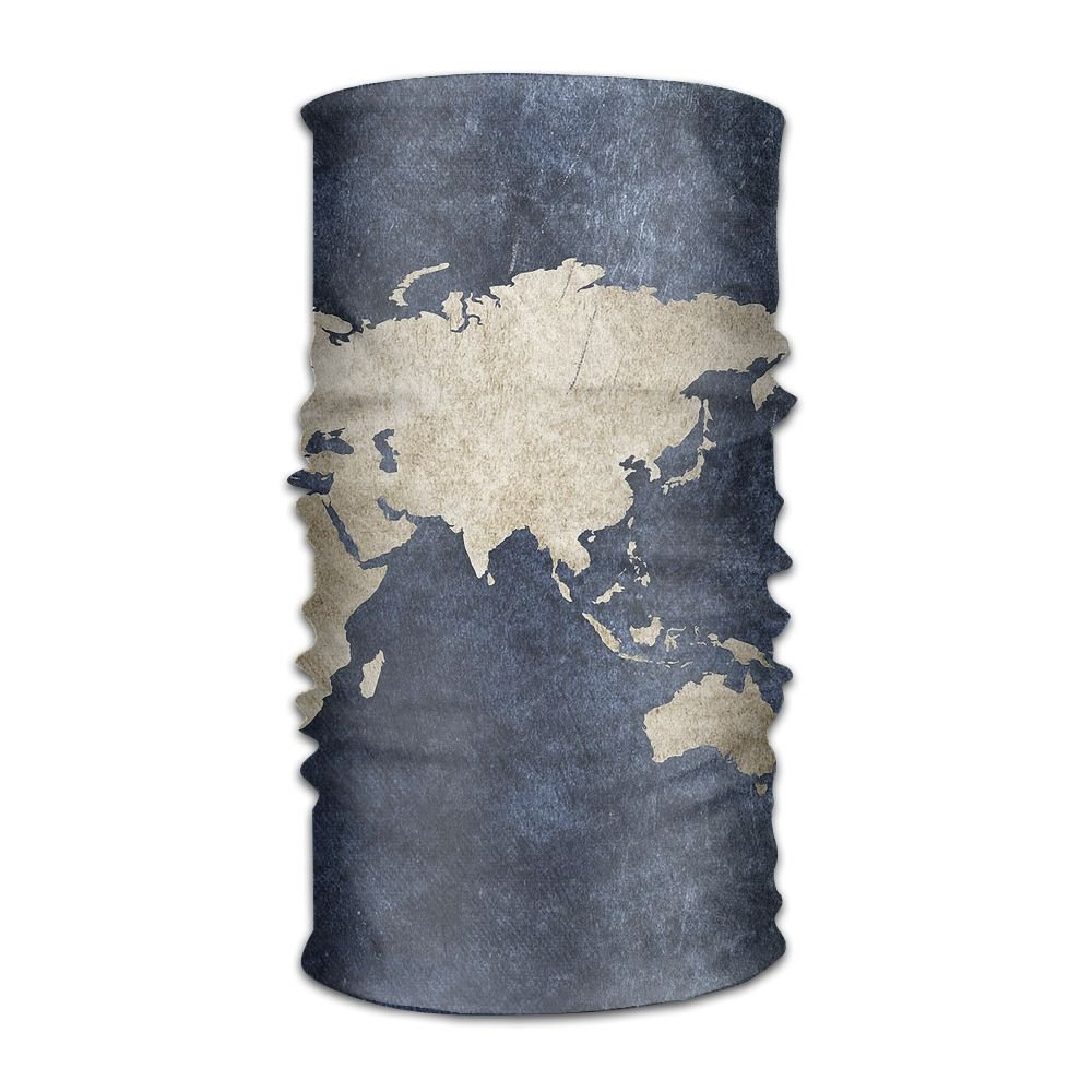 Fashion Headbands Headwear Bandana World Map Scarf Wrap Mask Sweatband Outdoor Headscarve