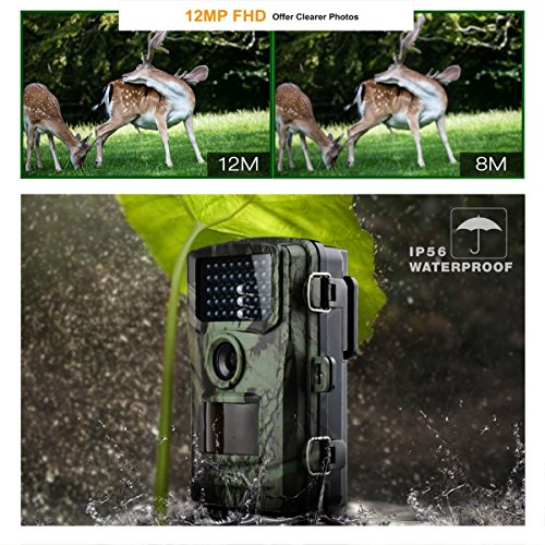 Trail Game Camera Toguard 12MP 1080P Wildlife Scouting Hunting Camera Supports Micro SD Card ONLY with 75ft 22M Infrared Night Vision PIR Motion Detection IP56 Waterproof Game Trail Cameras
