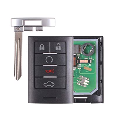Heart Horse 5 Buttons Keyless Remote Fob for Cadillac ATS SRX STS CTS DTS M3N5WY7777A 315Mhz(Complete Remote,No Battery)