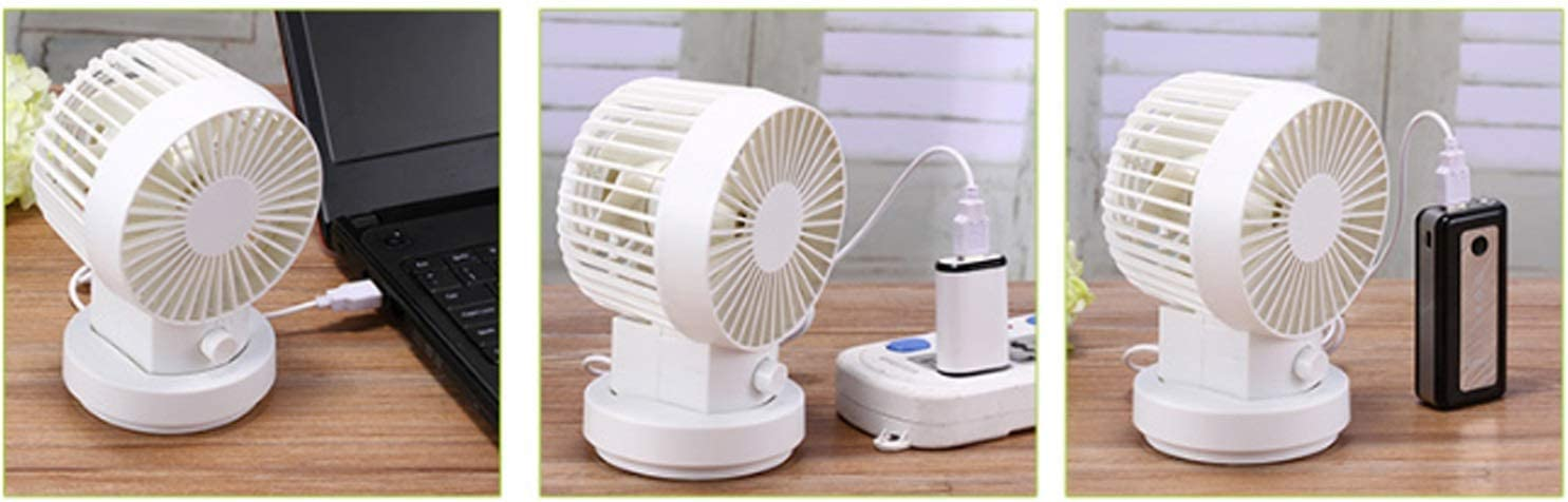 Color : White 02 Air Cooling Fan USB Small Fan Mute Automatically Shake Head Mini Portable Bedside Fan Large Wind Household Fan