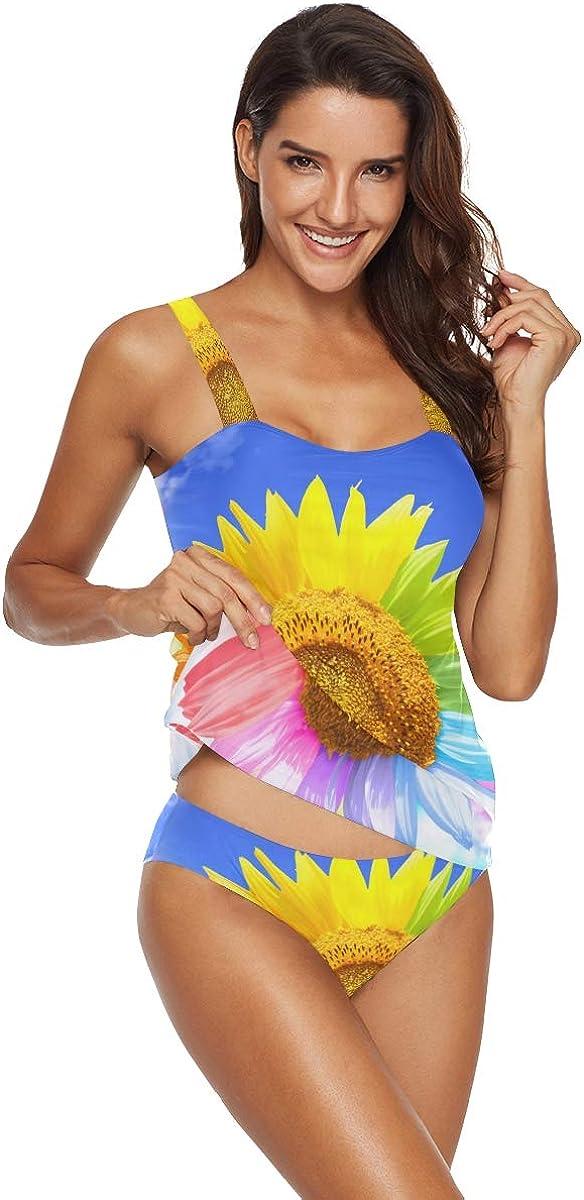 costume da bagno set con slip arcobaleno Tankini da donna 2 pezzi nuvole girasole Emoya