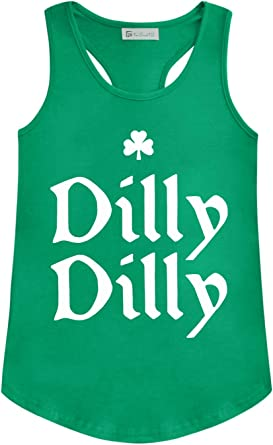 For G and PL Womens St Patricks Day Green Tank Tops