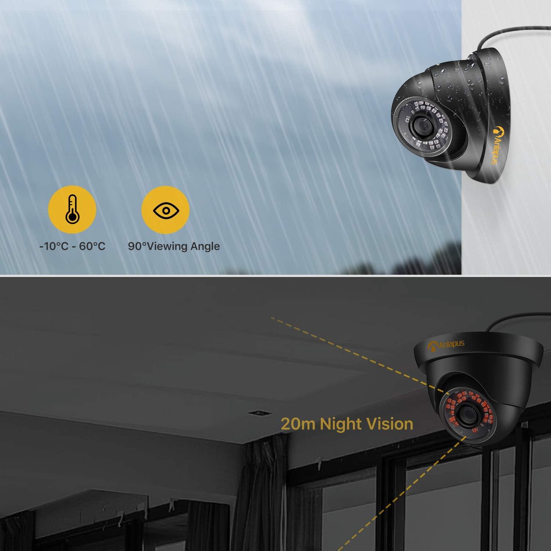 Acceso Remoto Anlapus 1080P 8CH DVR Kit de C/ámaras Vigilancia 4 C/ámaras de Seguridad IR Visi/ón Nocturna 1TB Disco Duro