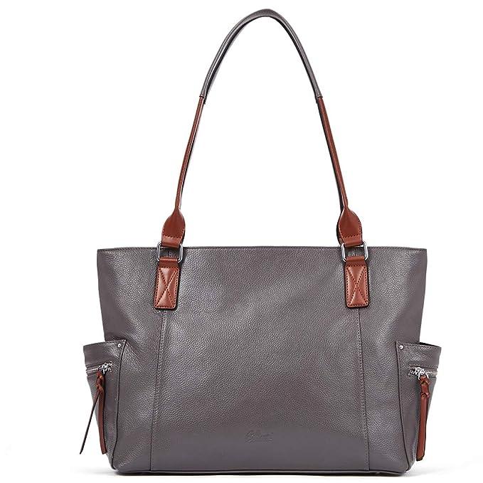 Amazon.com: Bolsas y bolsos de cuero genuino para mujeres de ...