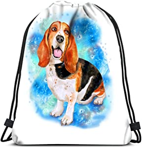 Drawstring Backpack Watercolor Portrait Of French English Or British Basset Hound Breed Dog Laundry Bag Gym Yoga Bag