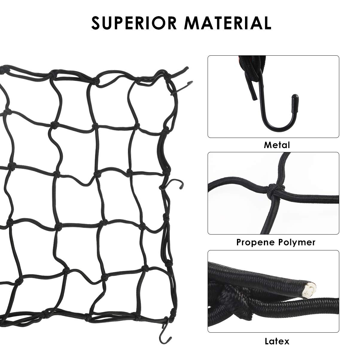 Yuniroom Motorcycle Cargo Net 1pc Black 15X15 Mesh Hold Bag Cargo Net W// 6 Removable Adjustable Hooks for Tight Covering for Motorcycle Car Bike