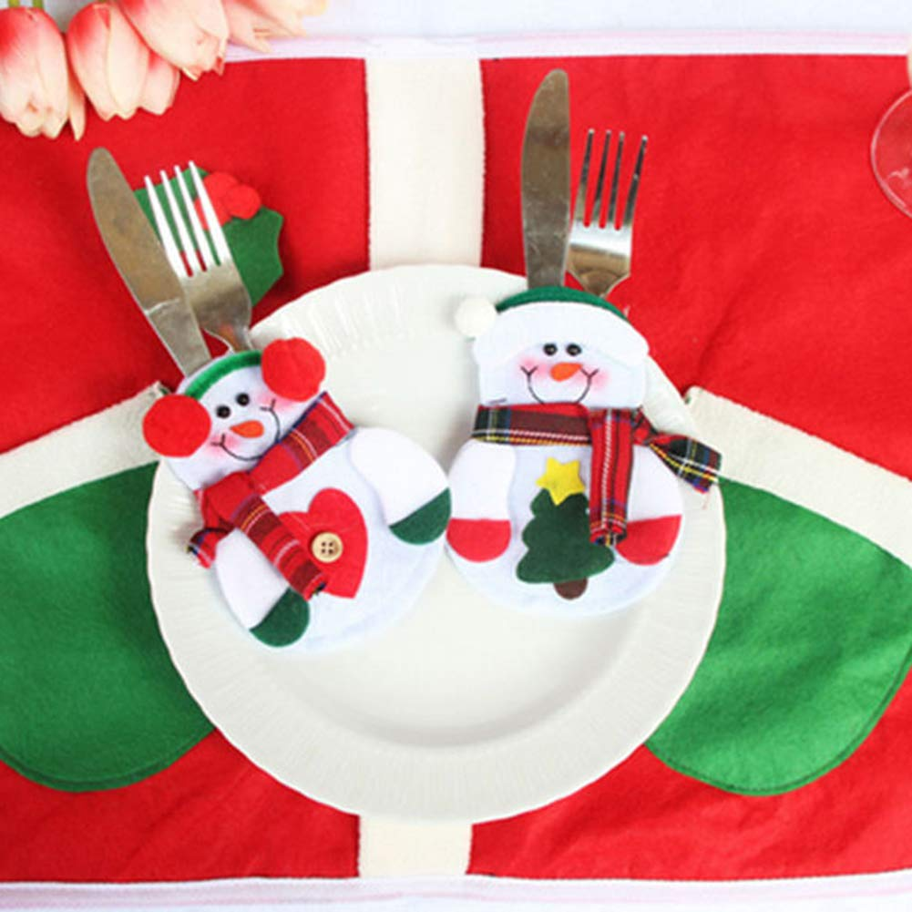 CHoppyWAVE Cutlery Pouch, Santa Snowman Cutlery Holder Utensil Bag Fork Knife Pocket Xmas Table Decor - Snowman by CHoppyWAVE (Image #4)