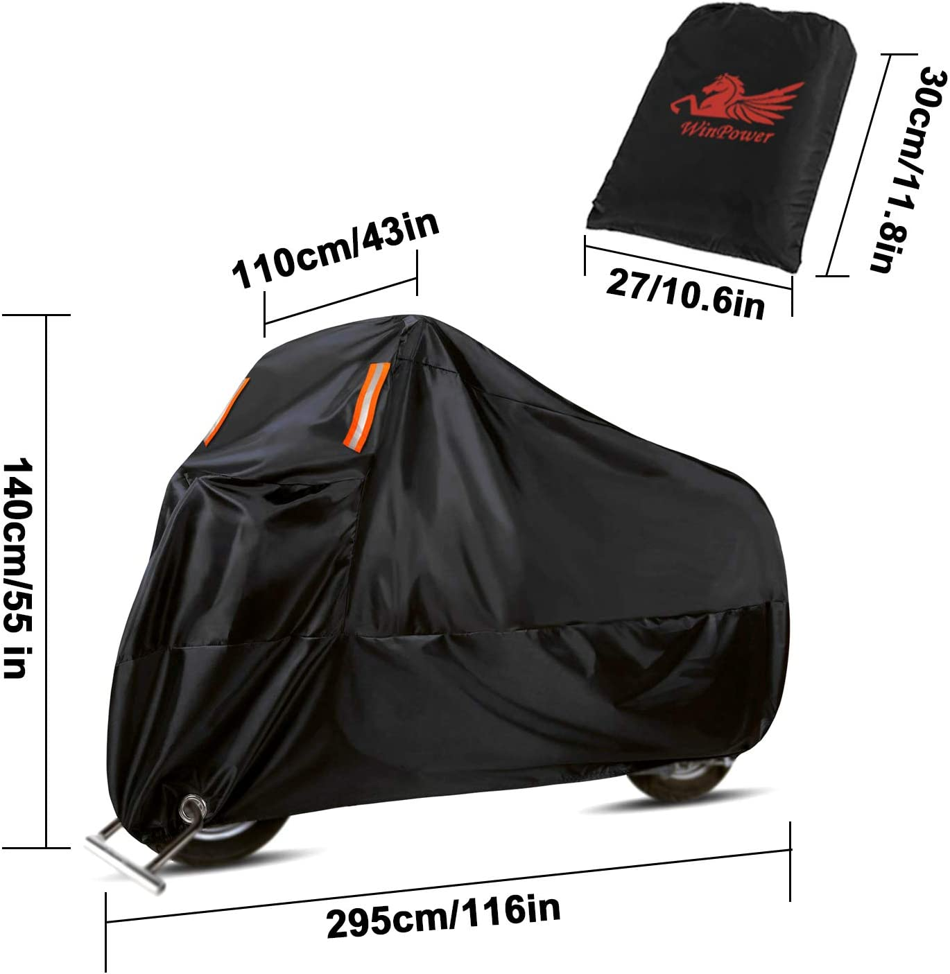 Suzuki Honda WinPower Outdoor Waterproof Motorcycle Cover Winter Snow Cover for Harley Davidson 104 x 41 x 49 inch XXXL Yamaha and All Motors Kawasaki