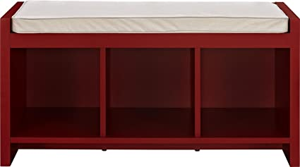 Storage Bench With Cushion   Wood Cubbical Storage Bench   Red