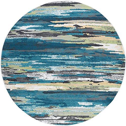 Caruso Contemporary Stripe Blue Round Area Rug, 5' Round