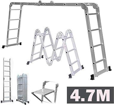 Escalera plegable multifunción de 4,7 m con 1 bandeja de herramientas de seguridad con bisagras de bloqueo de aluminio, escalera de extensión plegable, capacidad de carga de 150 kg.: Amazon.es: Bricolaje y herramientas