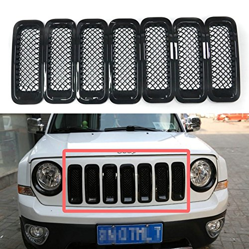 (Bestong 7 Pcs Front Grill Insert Grille Cover Trim Kit for 2011-2017 Jeep Patriot (Black, Mesh Grille))