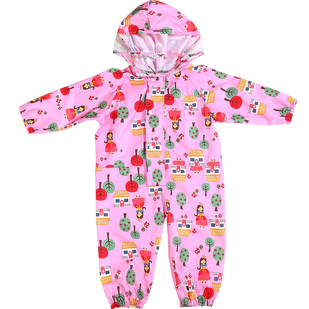 iHOY Kids Rainsuit Kids One Piece Rainsuit Coverall Baby Waterproof Jumpsuit Children Hooded Raincoat Suit EVA Waterproof Rainwear with Cartoon Printed 1-6years Old Size S (Pink Hut Girl)