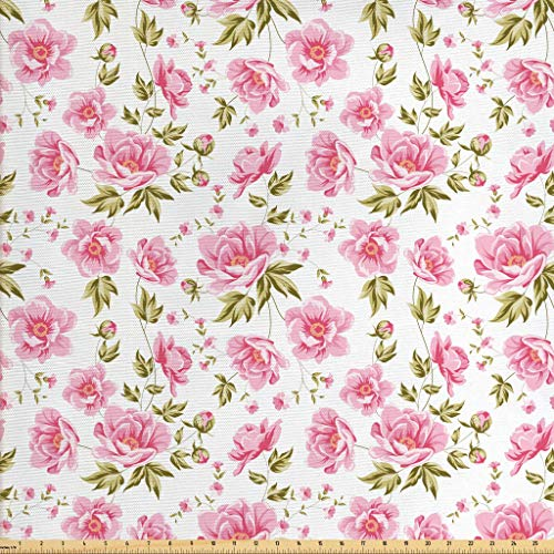 (Lunarable Floral Fabric by The Yard, Peony Floral Pattern with The Leaves Vintage Style in Graphic Print Boho Art, Decorative Fabric for Upholstery and Home Accents, 1 Yard, Green Pink White)