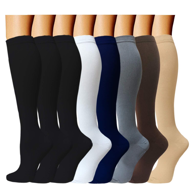 ACTINPUT 8 Pairs Compression Socks Women & Men -Best Medical,Nursing,Travel & Flight Socks-Running & Fitness,Pregnancy-15-20mmHg (L/XL, Assorted 2)