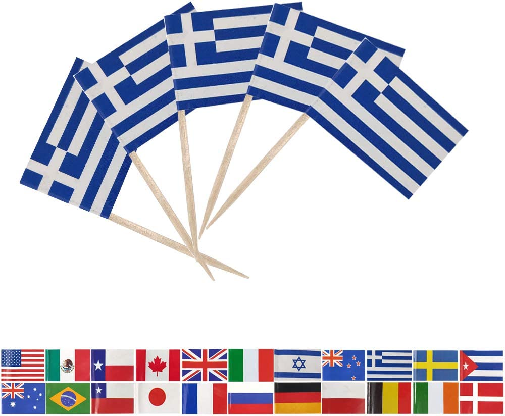 Tectsia Country Greek Toothpick Flag, Greece Flags, 100 Pcs Cupcake Toppers Flag, Small Mini Stick Flags Picks Party Decoration Celebration Cocktail Food Bar Cake Flags