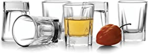 Circleware Eastside Clear Heavy Base Glass Shot Glass Set, 1.7 Ounce, Set of 6, Limited Edition Glassware Drinkware Barware Whiskey Scotch Liquor Drinking Glasses Beverage cups