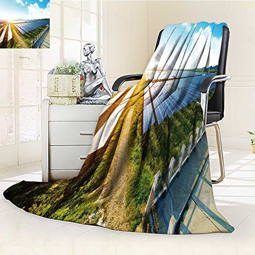 Decorative Throw Blanket Ultra-Plush Comfort photovoltaic panels for renewable electric production navarra aragon spain Soft, Colorful, Oversized | Home, Couch, Outdoor, Travel Use(60''x 50'') by aolankaili