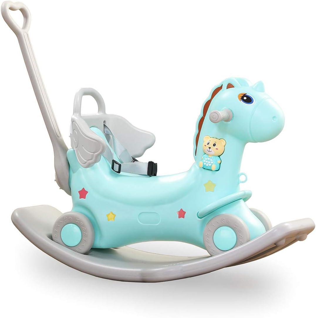 Baby Vivo 2en1 Caballito Balancín Caballo Unicornio con Coches Correpasillos con Ruedas Elemento Musical Bebé - Turquesa