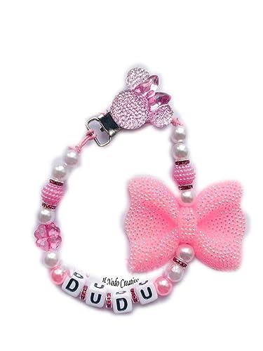 Cadena de chupete con strass | rosa Minnie disney | chupetero con ...