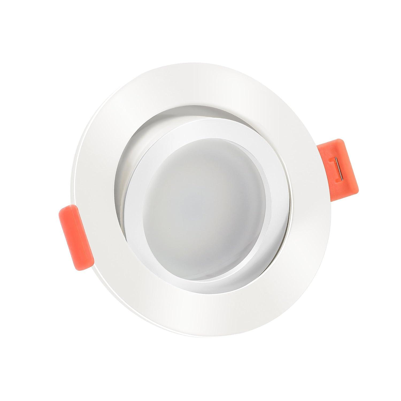 LUXVENUM   10x dimmbare, ultra flache (25mm) LED Einbau-Strahler   6W statt 70W   230V   3000 Kelvin 500 Lumen   warmweiße Lichtfarbe dank Einbauleuchten   Leuchtdiode in weißen Aluminium Design   10er Set warmweiß 3000K