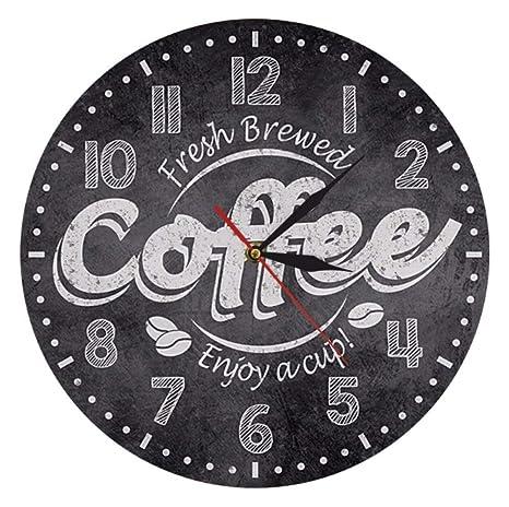 Gwgdjk Hora del café Reloj de Pared Decorativo Decoración de la Cocina Cafetería Decoración Café recién