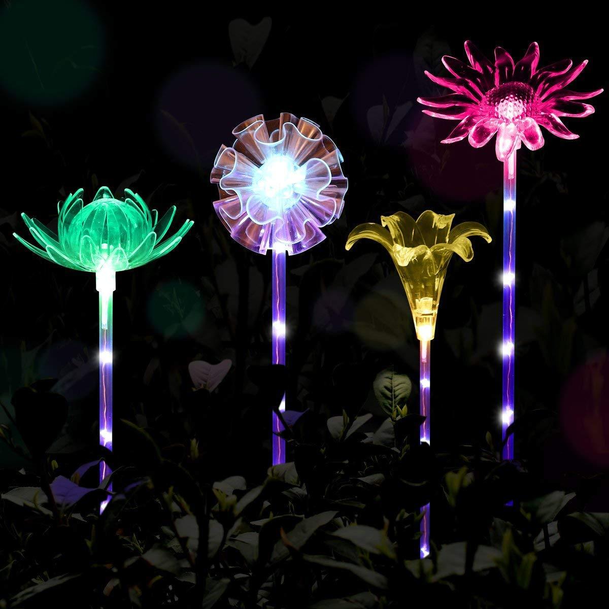 Yaoqiaoji 4pcs Solar Garden Lights Outdoor Garden Stake Lights Multi-Color Changing LED Solar Lights with Purple LED Light Stake for Garden Patio Backyard Decoration (Lotus,Dandelion,Lily,Sunflower)