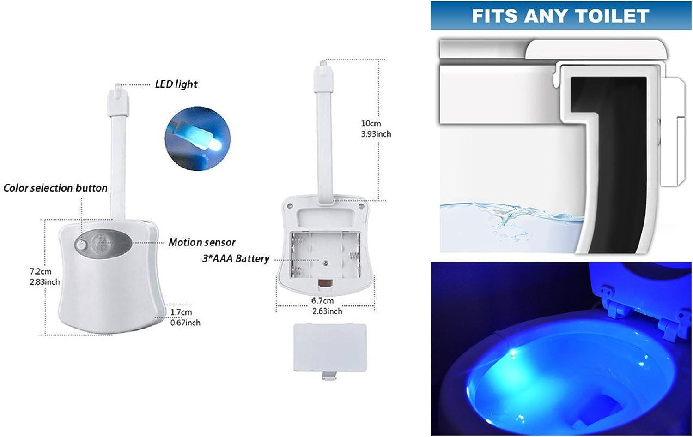 Cool New Fun Gadget for Him ADMOZ Multi-Color Motion Sensor LED Toilet Night Light Women or Birthday Kid Light Detection Sensor 2PCS Her Funny Unique Gift Idea Men