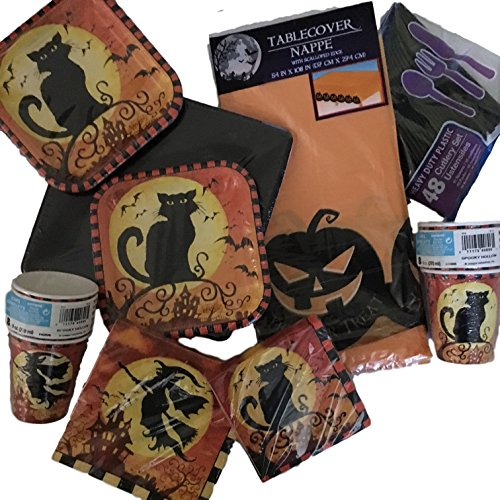 145 Piece Witch and Black Cat Halloween Party Supplies for 16 - Paper Plates, Cups, Napkins, Cutlery, Tablecloth