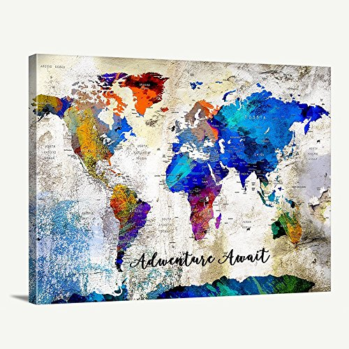 Custom World Map Canvas Print - World Map Push Pin Travel Map Wall Art Canvas Print - Personalized Alternative Wedding Guest Book Canvas Print