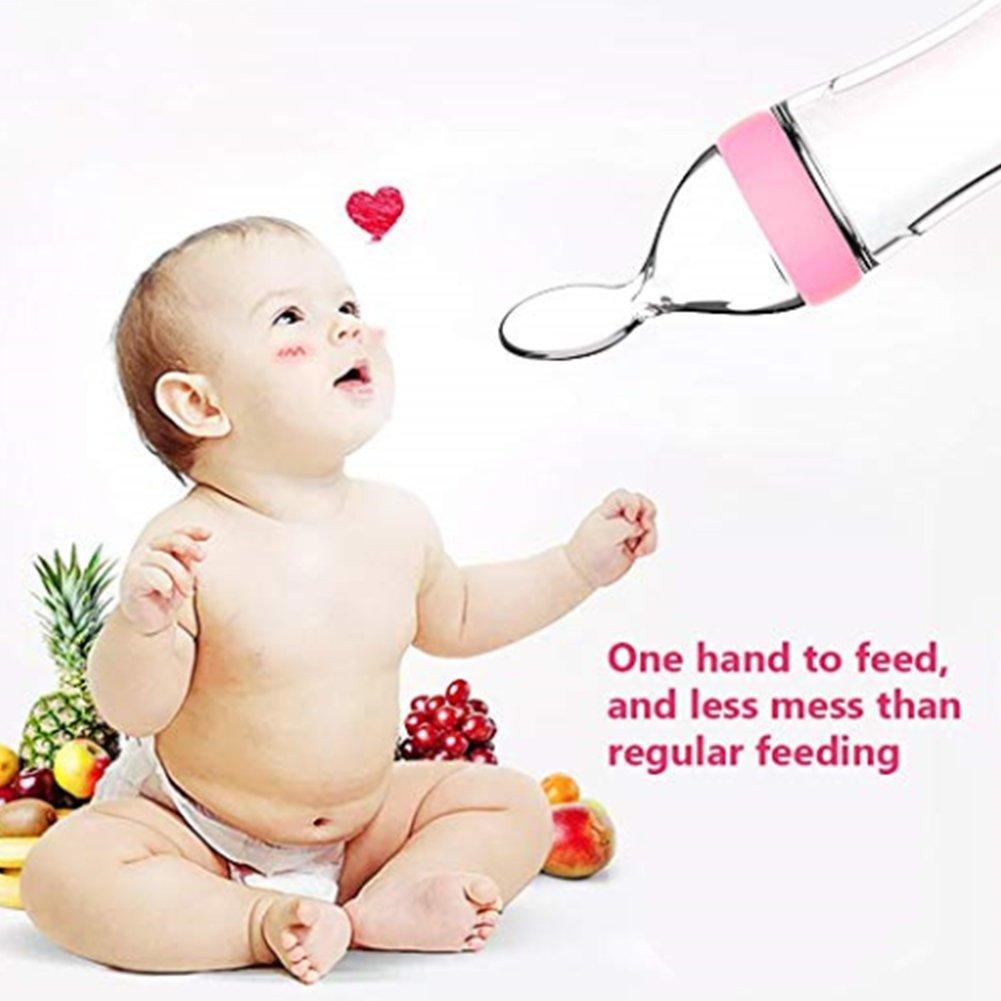 Deanyi F/ütterung Flaschen Silikon Squeeze Reis Getreide Feed Flasche L/öffel Babynahrung Dispensing F/ütterl/öffel Infant Newborn Kleinkind Nahrungserg/änzungsmittel Pink baby toys