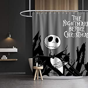 Night-mare Before Christmas Shower Curtain Halloween Christmas Cloth Fabric Skull Bathroom Decor Set with Hooks Waterproof Washable 72 x 72 inches