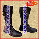 MEDIEVAL LEATHER BOOTS RENAISSANCE FOOTWEAR VIKING SHOE MENS BROWN LONG SHOES