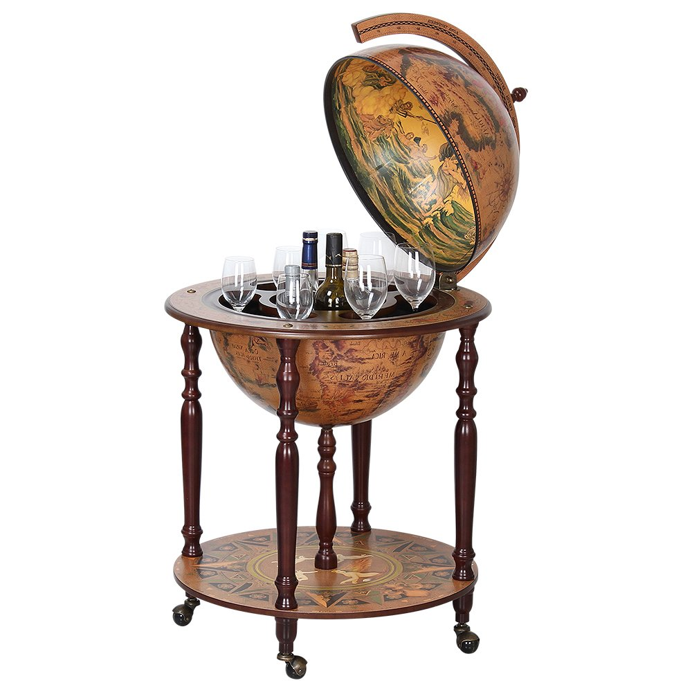 HAITRAL Globe Wine Bar Stand 16th Century Italian Wine Cabinet Wood (NX-MG45003N) by HAITRAL
