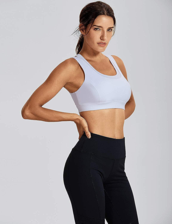 CRZ YOGA Womens Padded Racerback Sports Bra Medium Impact Support Yoga Workout Running Bra Tops