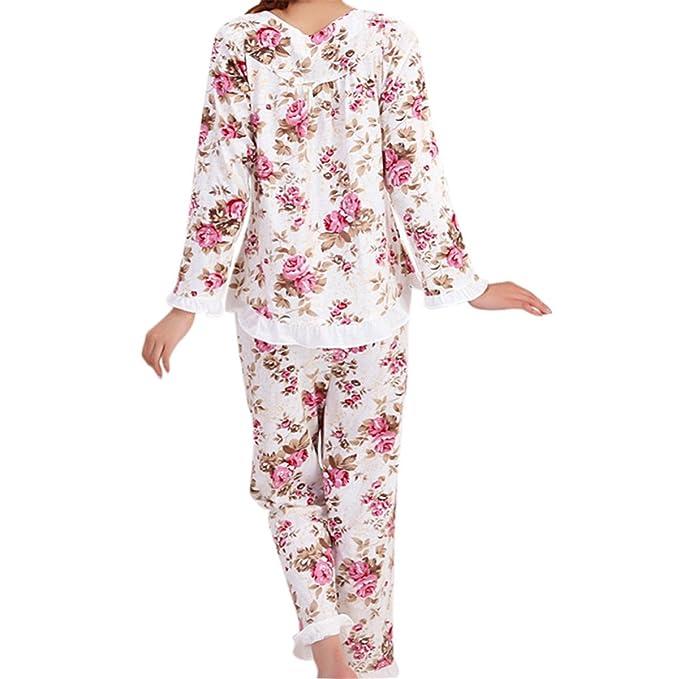Amazon.com: Chiced Long Sleeved Ladies Pajamas Set Pyjamas for Women Pijama Mujer Floral Print Sleepwear Homewear Nightgown: Clothing